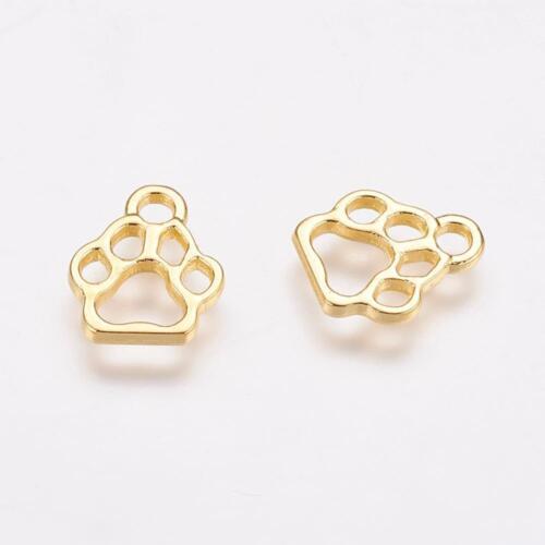 6 Paw Print Charms Gold Tone Dog Pendants Connectors Links 13mm Open Design