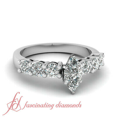 1 CARAT Marquise Cut Conflict Free Diamond Engagement Ring 14K SI2 GIA Certified