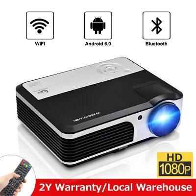 Smart LED Android Video Projector HD WiFi Movie Bluetooth Home Cinema 1080p HDMI