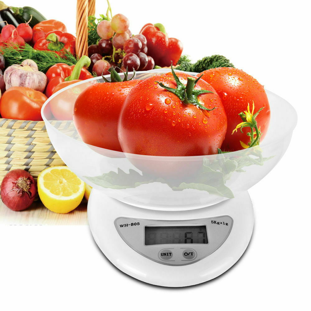LCD Digital Kitchen Scale with Bowl 11LBS Electronic Weight