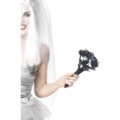 Smiffy's Corpse Bride Bouquet - Black Roses - Fancy Dress Halloween Accessory
