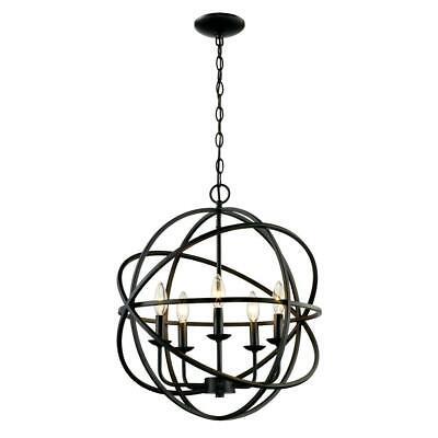 Bel Air Lighting 5-Light Rubbed Oil Multi Ring Orb Bronze Chandelier