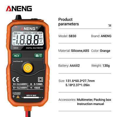 Aneng S830 Electrical Digital Multimeter Ohmmeter Multi Tester Ac Dc Voltmeter