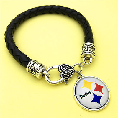 PITTSBURGH STEELERS LEATHER BRACELET-COSTUME JEWELRY KING-SPRING SPECIAL