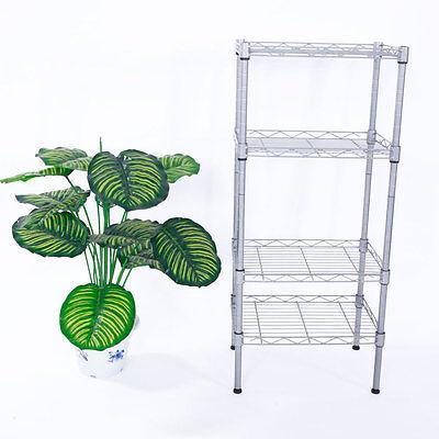 4 Tier Wire Shelving Rack Shelf Adjustable Unit Garage Kitchen Storage