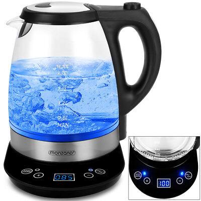 Wasserkocher mit Temperaturwahl 2200W 1,7l Glas LED Edelstahl Teekocher