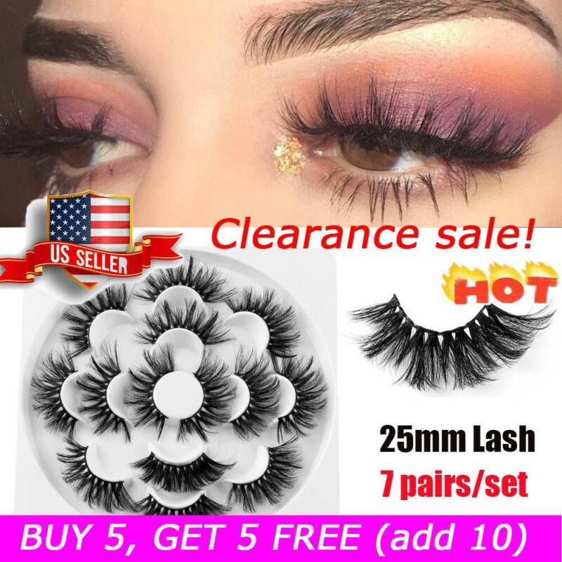 SKONHED 7 Pairs 25mm 6D Mink Hair False Eyelashes Thick Eye