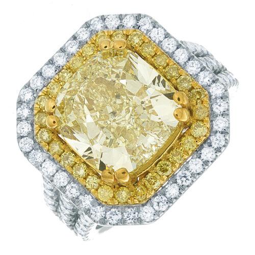 Diamond Engagement Ring GIA Certified 5.25 CT Fancy Yellow Cushion Cut Platinum
