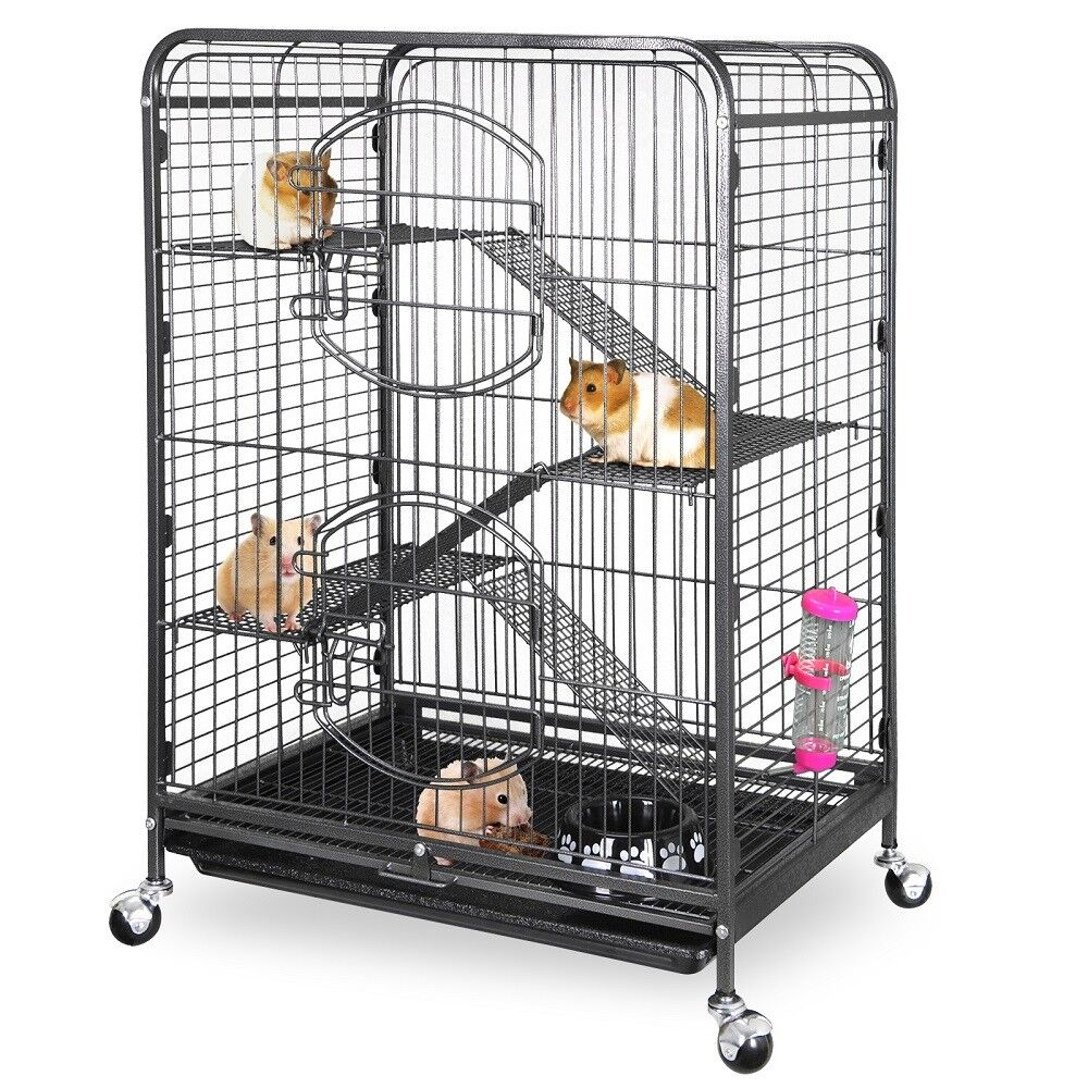 4-Tier Ferret Cat Cage Powder Coated House for Hamster Guinea Pig Chinchilla 37″ Cages, Hutches & Enclosure