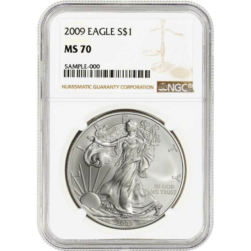 2009 $1 American Silver Eagle NGC MS70 Brown Label
