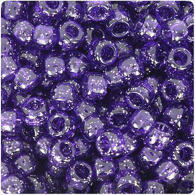 500 Dark Purple Sparkle 9mm Barrel Plastic Pony Beads Made in the USA - Dark Sparkle
