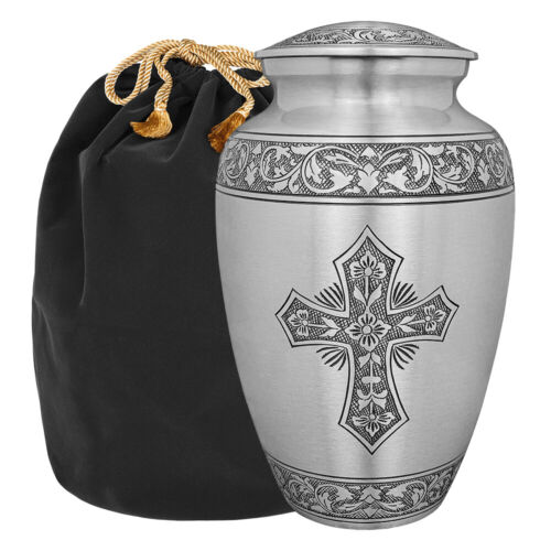 Grace and Mercy Pewter Cross Adult Cremation Urn for Human Ashes - w Bag