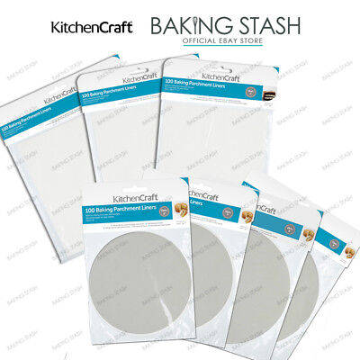 Kitchen Craft Round/Square Siliconised Baking Paper Parchment Tin Liners -100 Pk