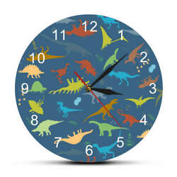 Colorful Dinosaur With Numbers Personalised Name Modern Wall Clock Time Watch