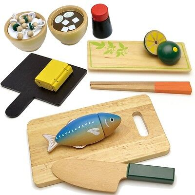 WOODY PUDDY / Wood Kitchen Play Set Grilled Fish DX 3years+ Playing House Set