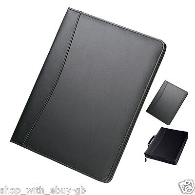 Black A4 Conference Folder Pads Unzipped Zip Ring Binder Pu Leather Portfolio