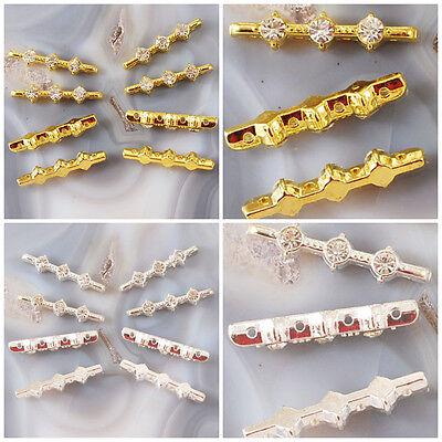 10pcs 27x5mm Gold/Silver Spacer bar & glass rhinestone brass 4 strands Jewelry  5 Strand Spacer Bar
