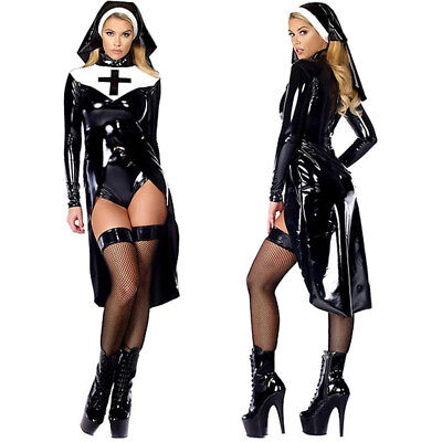 Halloween Cosplay Plus Size Black Women Sexy Nun Costume Vinyl Leather Dress