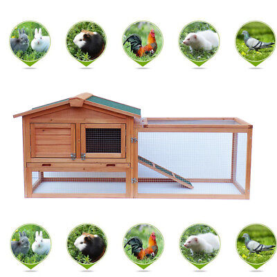 """New 61"""" Wooden Rabbit House Hutch Chicken Coop Cage w/ Tray Run Animal"""