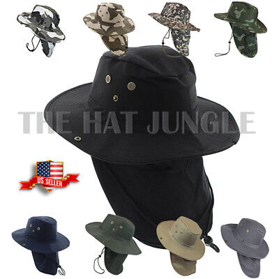 Boonie Hat Neck Flap Fishing Hiking Outdoor Summer Cap Military Snap Wide Brim (Hat Fish)