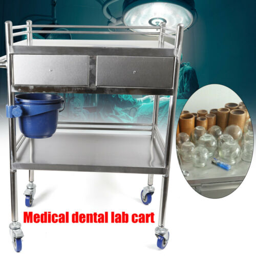 2 Layers Stainless Steel Hospital Medical Dental Lab Trolley Cart & Drawer 11