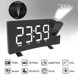 Large Digital Alarm Clock Projection LED Dual Alarms Snooze AM FM Radio USB Port