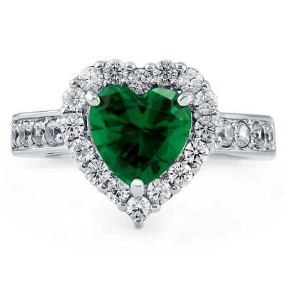 BERRICLE Sterling Silver Simulated Emerald Heart Shaped CZ Halo Engagement Ring - Emerald Heart Shaped Ring