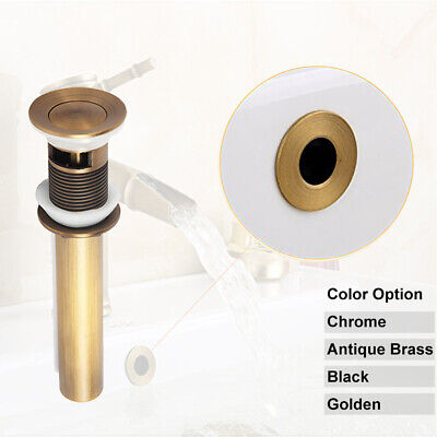 Brass Pop up Drain with Overflow + Basin Sink Overflow Hole Cover Bathroom Parts