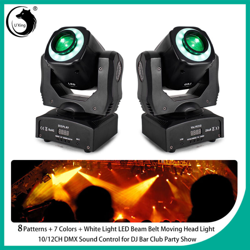 2PCS Stage 100W 8 Pattern LED RGBW Wash Moving Head DMX DJ Disco Party Lighting