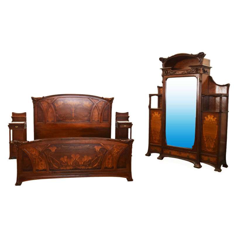 Art Nouveau King size Bedroom Suite, by Louis Majorelle, France, c. 1900 #6671