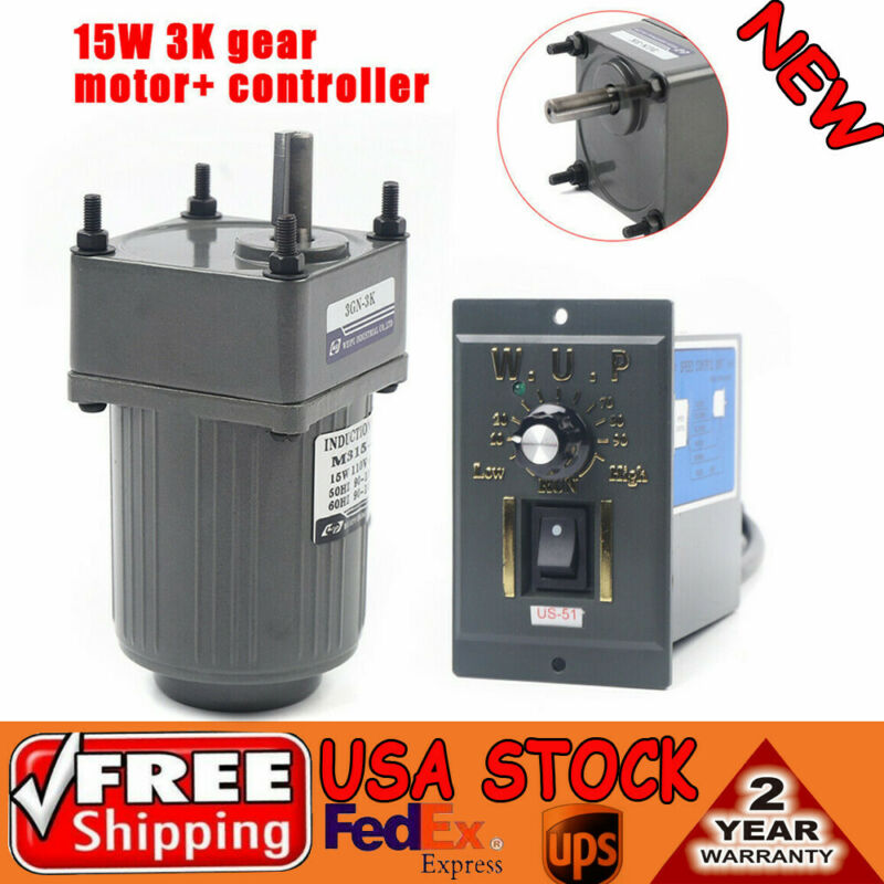15W 3K AC gear motor electric +variable speed Reduction controller 1:3 110 V
