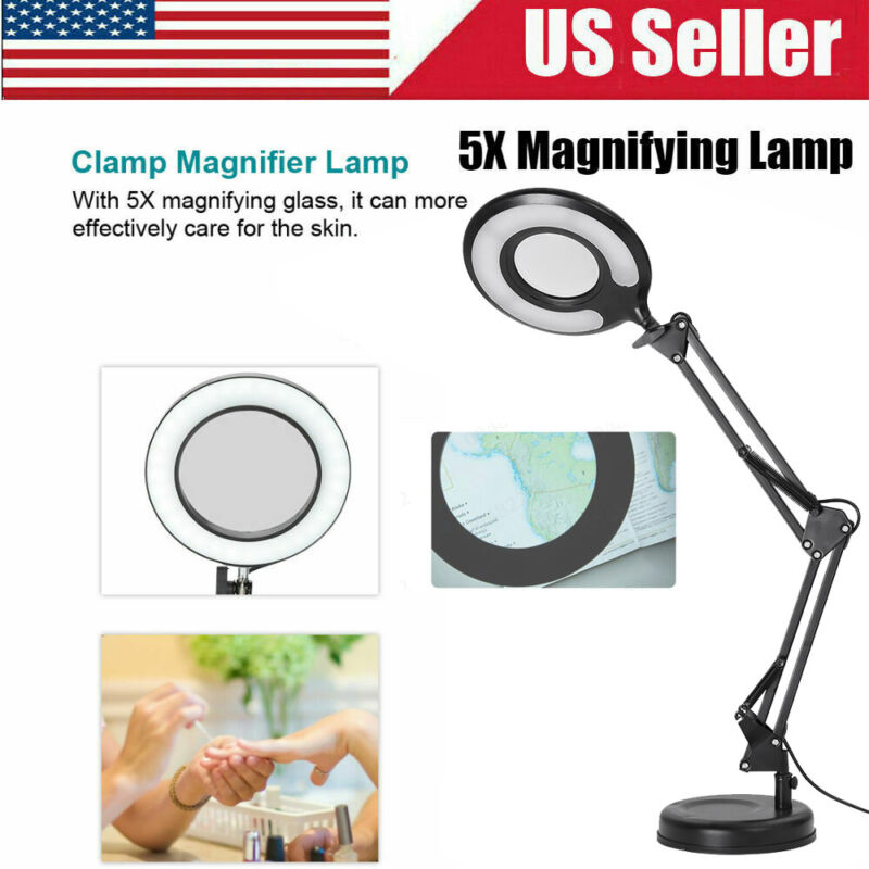 Adjustable Clamp Mount Swing Arm Glass Magnifying Hobby Desk