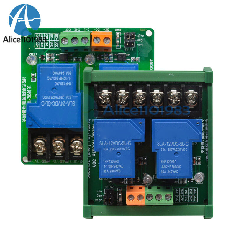 2 Channel 30A DC 5V/12V/24V Relay Module Optocoupler Isolation High Low Trigger