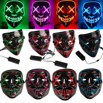 3-Modes Scary Mask Cosplay Led Costume Mask EL Wire Light Up The Purge Movie USA ()