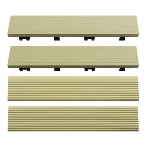 NewTechWood 1/6 ft. x 1 ft. Quick Composite Deck Tile Straight Trim Sahara Sand