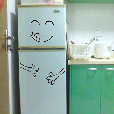 Cute Sticker Fridge Happy Delicious Face Kitchen Fridge Wall Stickers Art Black