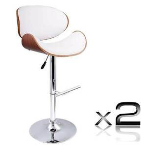 Set of 2 Wooden Kitchen Bar Stool Padded Seat White Melbourne CBD Melbourne City Preview