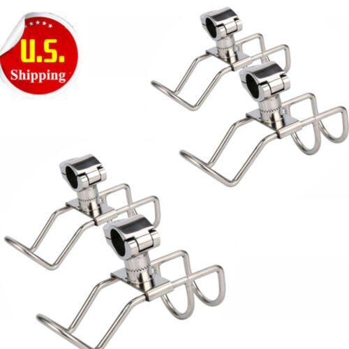 4 Pcs Stainless Rail Mount Clamp on Bracket Rod Holder 2 Wir
