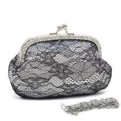 - New Women Clutch Rhinestone accented satin evening bag with lace overlay - White