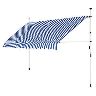 B-Ware Klemmmarkise Blau/Weiß 400cm