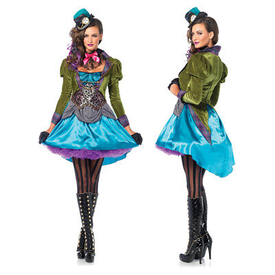 Womens Sexy Deluxe Mad Hatter Halloween Costume (Womens Mad Hatter Halloween Kostüme)