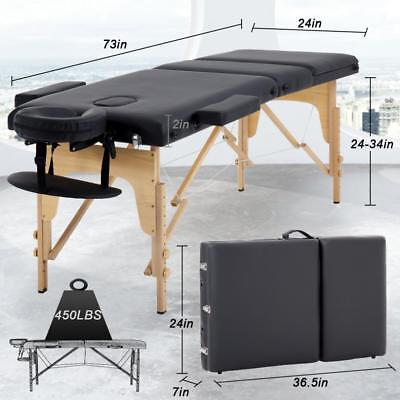 Massage Table Massage Bed Spa Bed 73″ Long 24″ Wide Portable Massage w/ Case Health & Beauty
