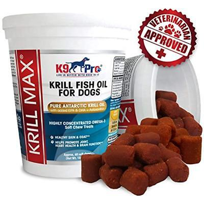 Krill Max Fish Oil for Dogs Omega 3 with DHA EPA Plus Astaxanthin and Vitamin E