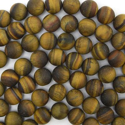 Tiger Eye Gemstone Beads - Matte Tiger Eye Round Beads Gemstone 15