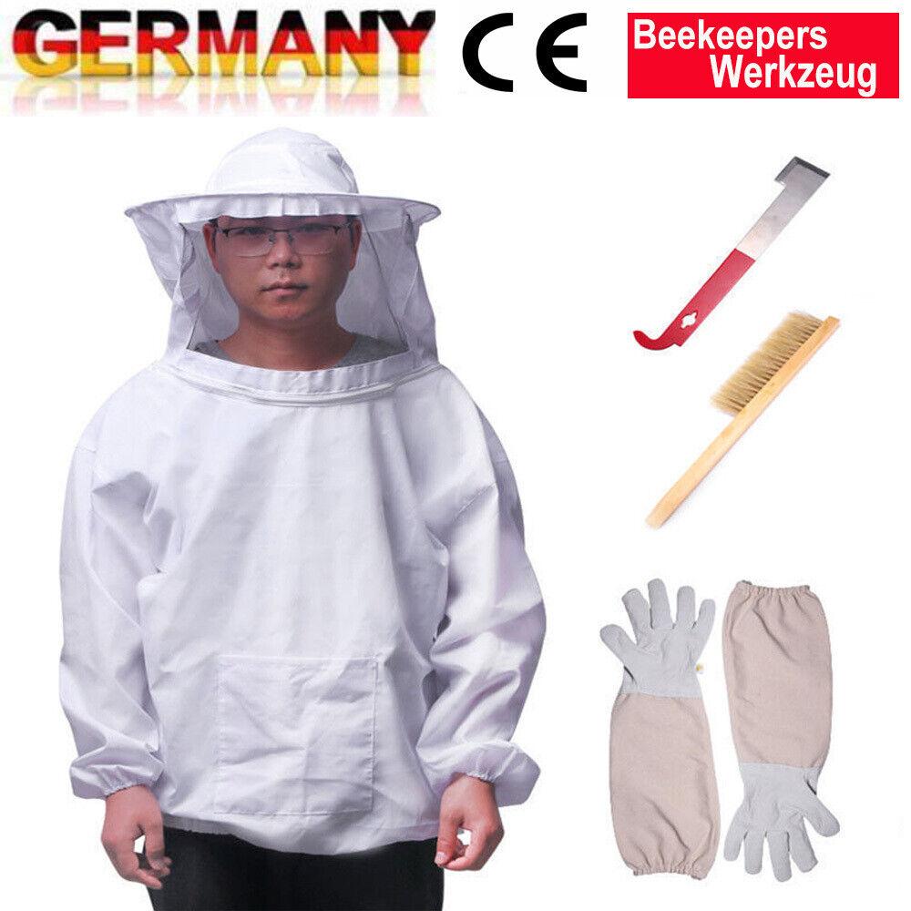 4Pcs Imker Schutz Bienenschutz Jacke Schleier Anzug Atmungsaktiv Werkzeug Set