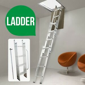 3M Loft ladder 3 Section Aluminium Extension Extendable Folding With Handrail