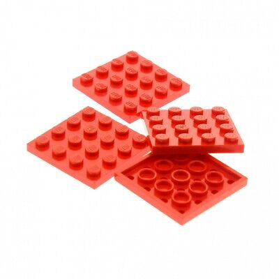 4 X Lego System Construction Plate 4x4 Red 4 X 4 Square 3827 1818 5933 21301