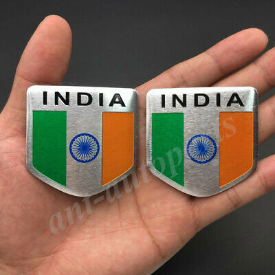 2x India Indian Shield Flag Car Emblem Badge Motorcycle Sticker Decals Fairing