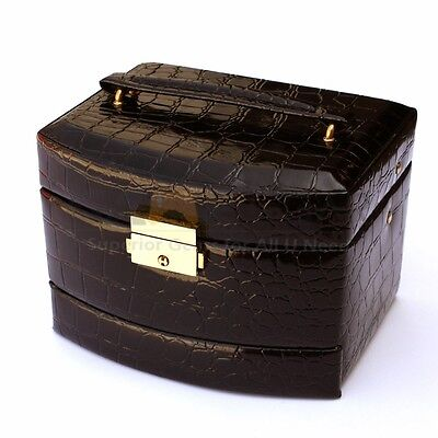 Jewelry Box Storage Organizer Case Ring Earring Necklace Mirror Leather  - Black