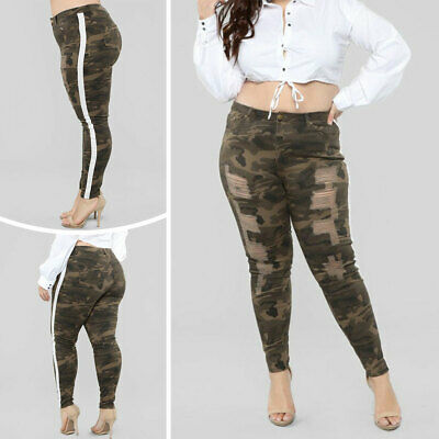 Women High Waist Pencil Pant Camouflage Denim Jeans Elastic Casual Ripped Pants